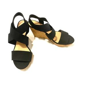 NWOT AE Black Elastic Strap Cork Wedge Sandals 7.5